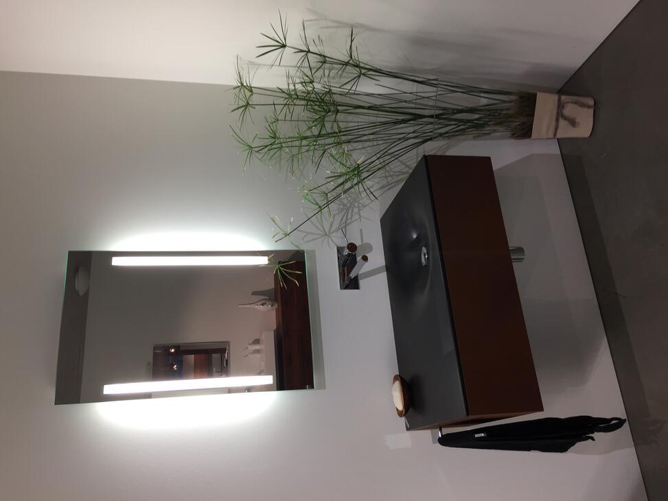 Unterbaumöbel mit Sichtteilen aus Kunstharz mit Beton-Rosteffekt Waschbecken von Schmidlin Stahl, anthrazit emailliert Masse gemäss Plan.